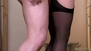 Amazing Blonde Girl In Black Stockings Enjoys Wild Sex