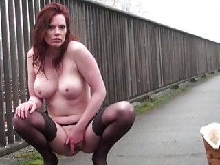 Exhibitionist Housewifes Public Flashing Of Naughty Masturbating Voyeur Red