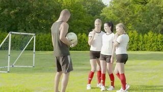 Coach Is Ramming The Pussies Of Three Teen Angels On A Soccer Field