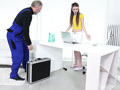 Skinny Empera Seduces Old IT Guy To Fuck Her Teen Pussy