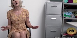 Blonde MILF Gets Caught Stealing Panties And Is Strip Searched And Fucked By Mall Cop